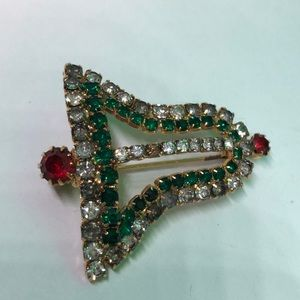 Festive Sparkling Jingle Bell Brooch